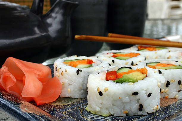 sushi - california rolls with ginger stock photo