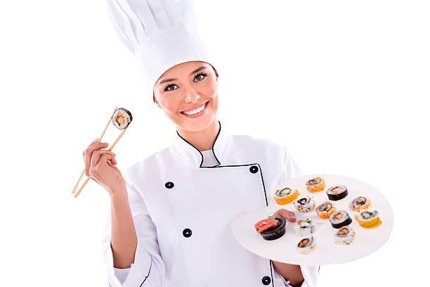 sushi-küchenchef - kochkunst stock-fotos und bilder