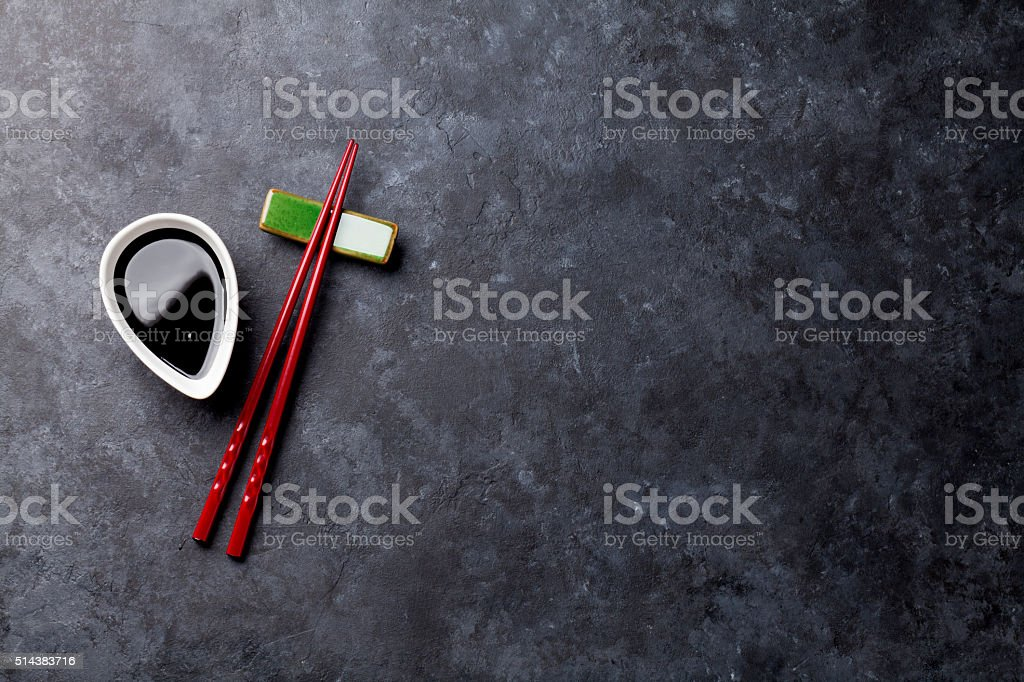 Sushi chopsticks and soy sauce stock photo