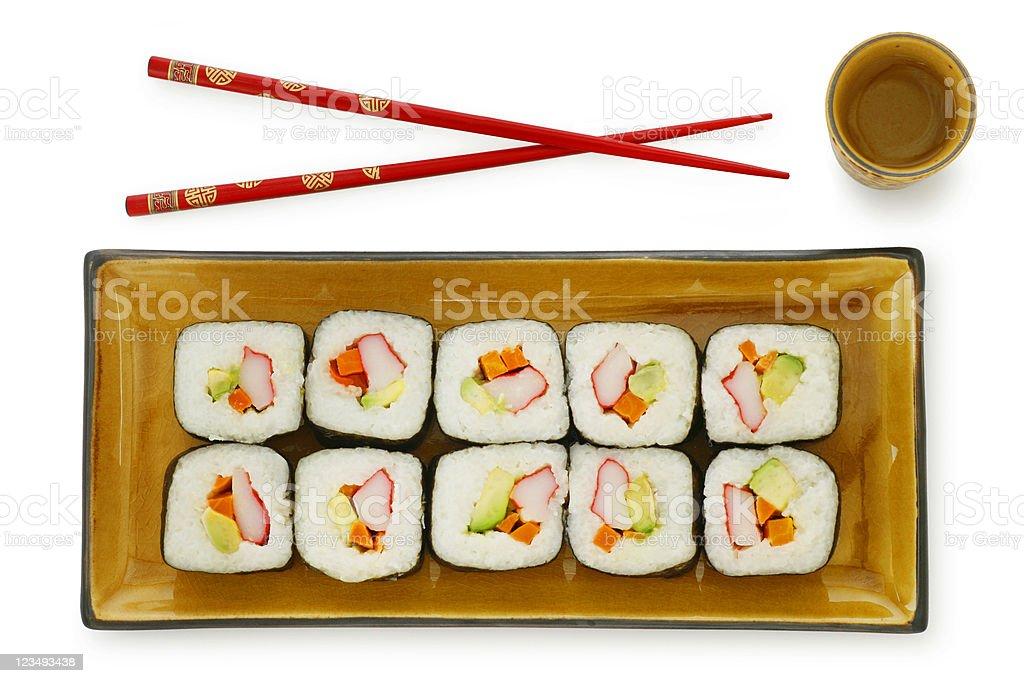 sushi chopsticks saki on white royalty-free stock photo