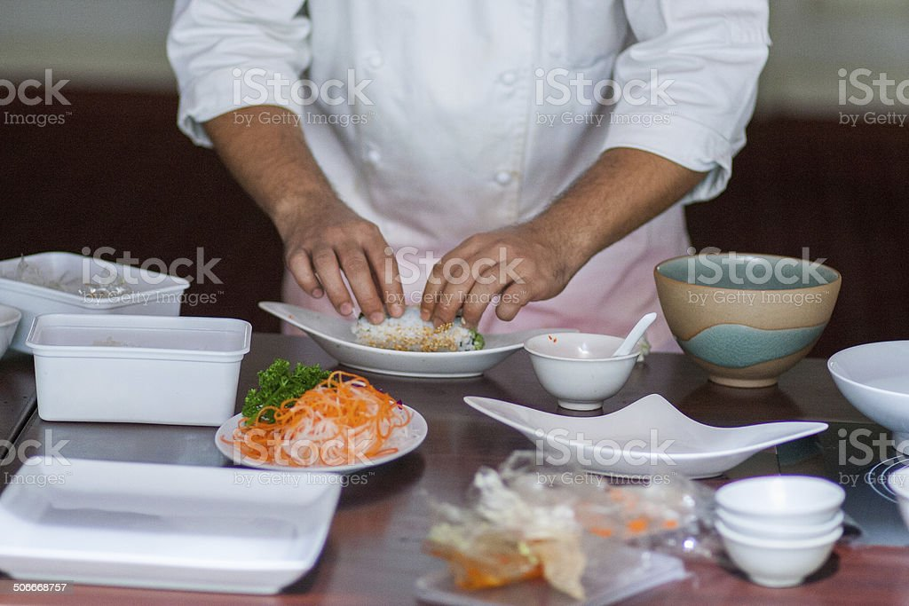 Sushi cooking royalty-free stock photo