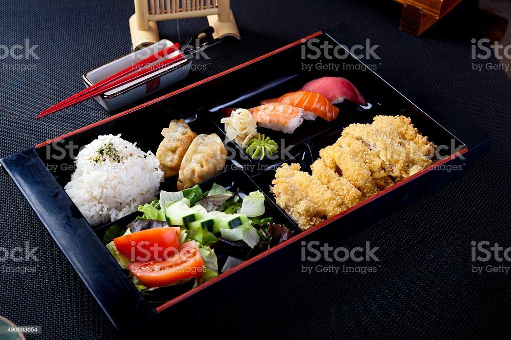 Sushi & Cutlet Combination Bento stock photo