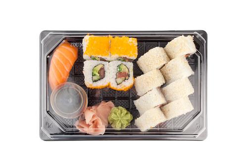 istock Sushi delivery box on white background. Black transport box 539093396