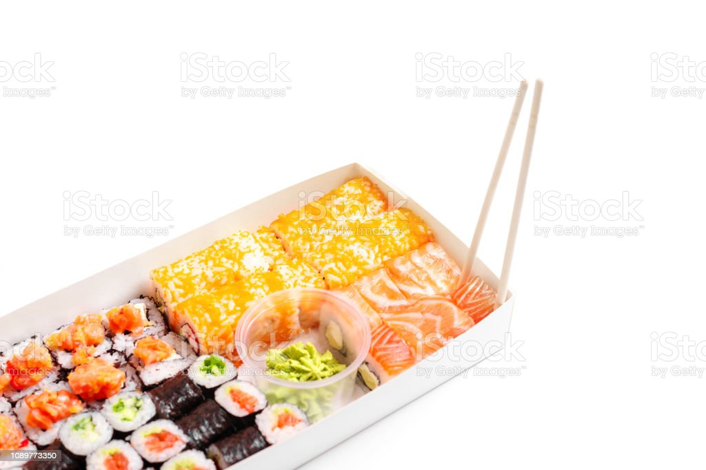Sushi Delivery To Go Set Japanese Chinese Food Isolated