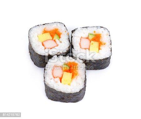 istock sushi fresh maki rolls, isolated on white, Traditional fresh japanese sushi rolls 814215762
