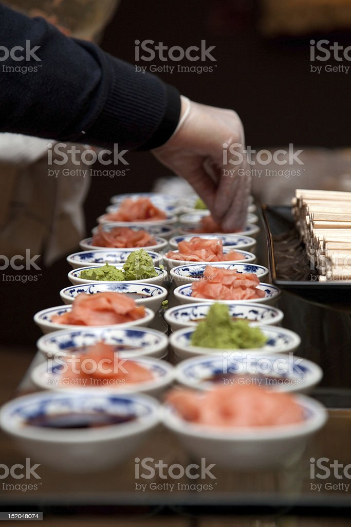 Sushi Ginger and Wasabi royalty-free stock photo