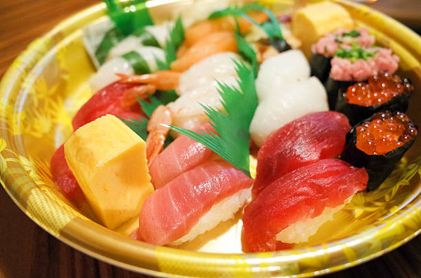 Sushi home delivery of Japan stock photo
