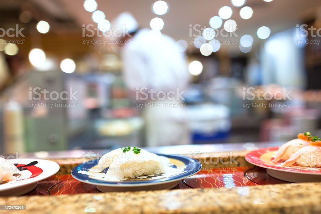 Sushi in a japanese restaurant royalty-free stock photo