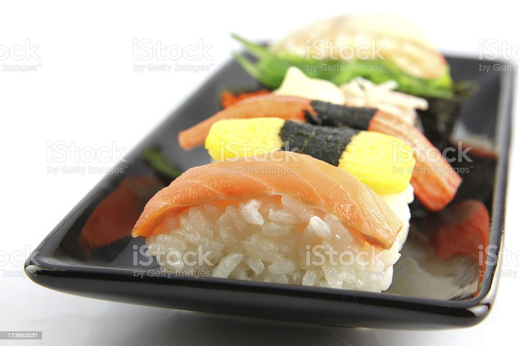 Sushi in Black dish. royalty-free stock photo