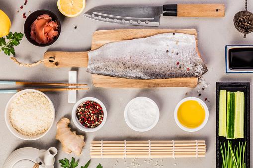 Sushi Ingrediënten Stockfoto en meer beelden van Azië