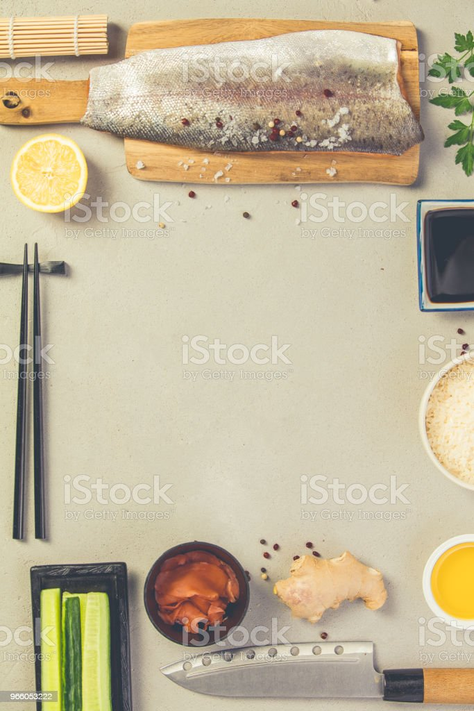 Sushi ingrediënten - Royalty-free Avocado Stockfoto