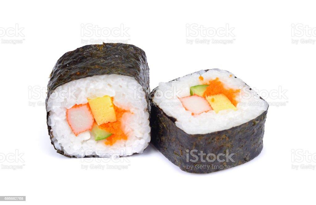 Sushi Isolated On White Background Traditional Japanese