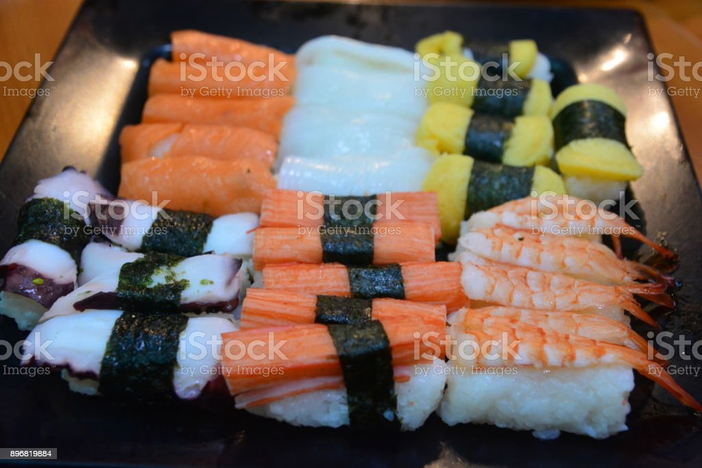 Sushi Japanese food in Resturant stock photo