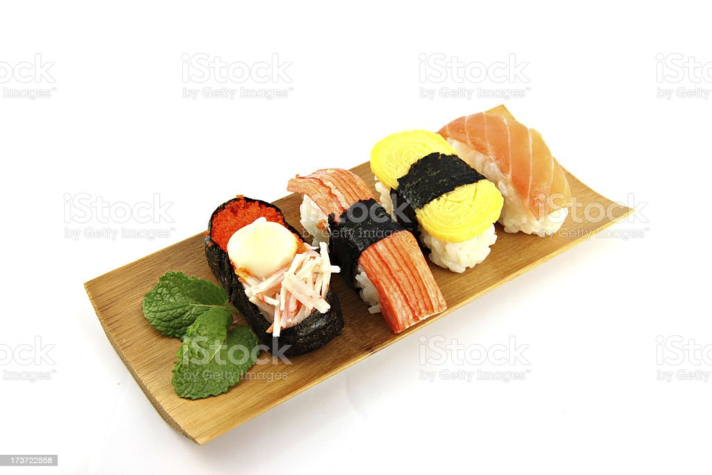 Sushi made from seafood on the white background. royalty-free stock photo