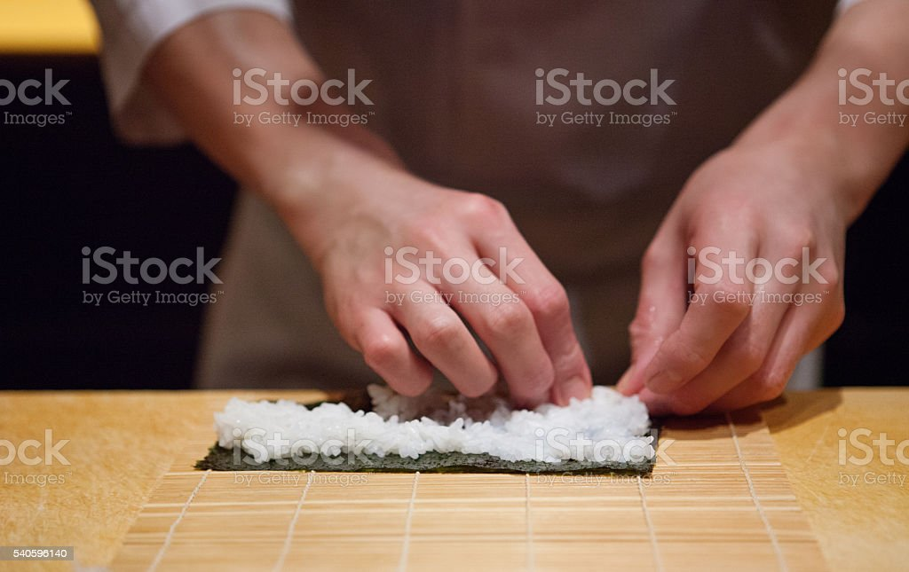 Sushi maki chef stock photo