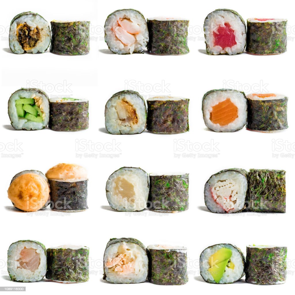 Sushi Maki Isolated On White Background For Menu Traditional Japanese Food Stock Photo Download Image Now
