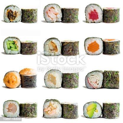 Sushi maki isolated on white background for menu. Traditional Japanese food.