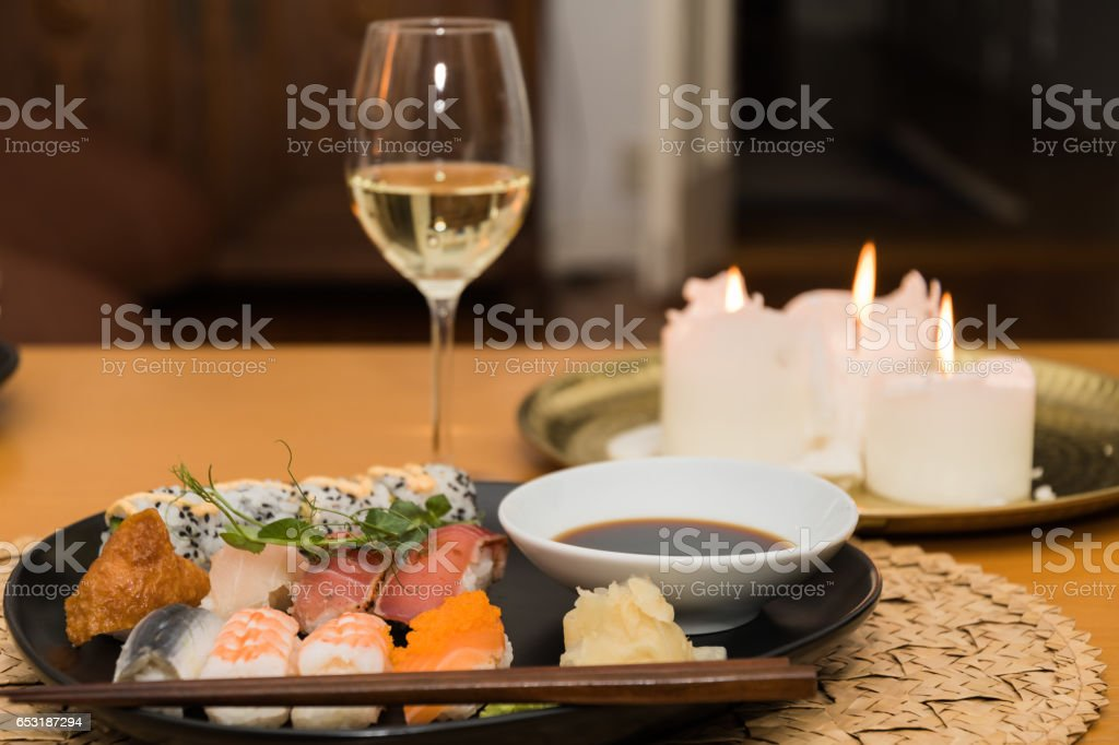 Sushi meal on a table stock photo