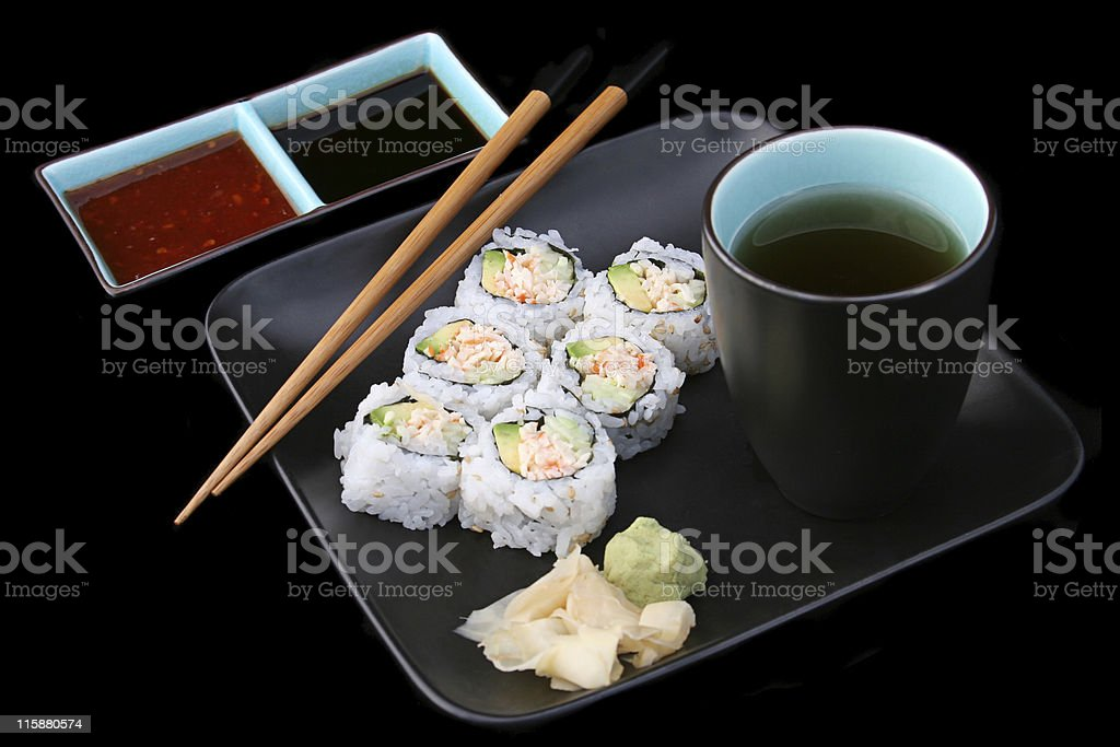 Sushi Meal on Black royalty-free stock photo