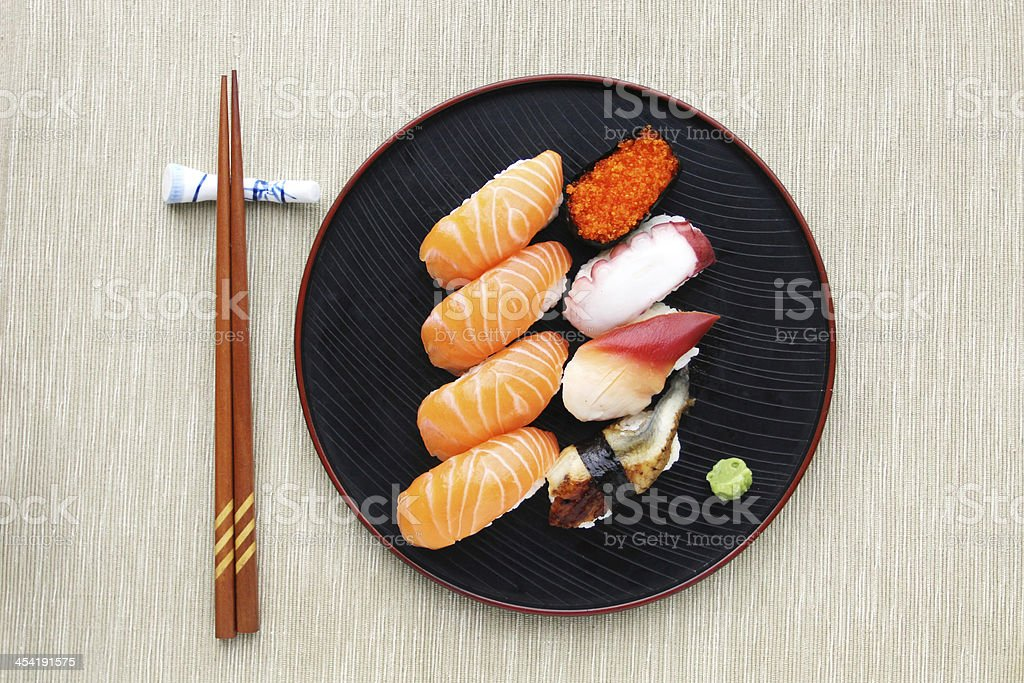 Sushi meal top view stock photo