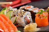 Close up on salmon sashimi texture
