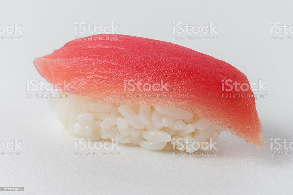 sushi of rice and of tuna on a white background stock photo