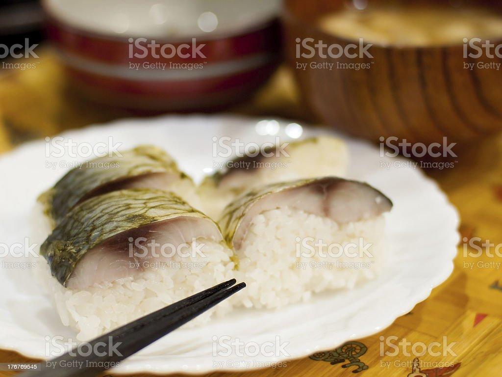 Sushi of the mackerel royalty-free stock photo