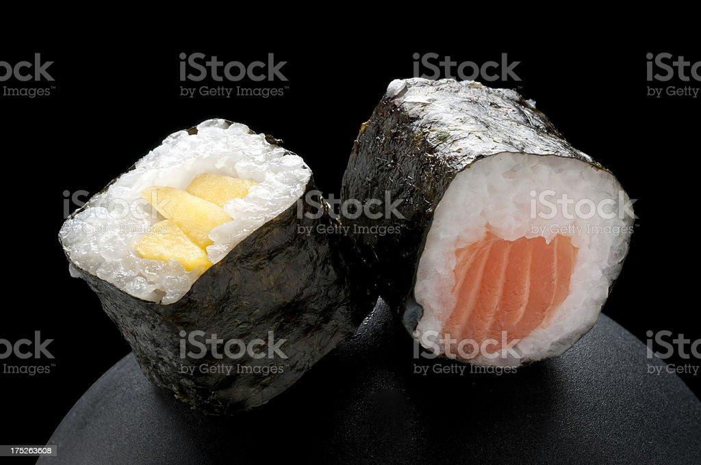 Sushi on a Black Background royalty-free stock photo