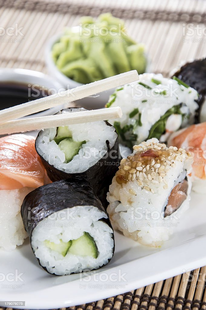 Sushi on a plate royalty-free stock photo