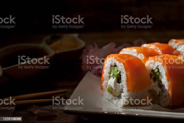 Sushi on a white plate sushi roll with sauce and spices on a black picture id1223106066?b=1&k=6&m=1223106066&s=612x612&h=lki4fxjpc7z6fqmn1ct4u5bgw2 s1bgqpa31jtdw cg=