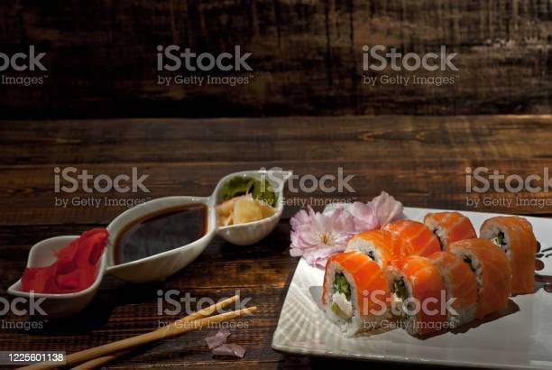 Sushi on a white plate sushi roll with sauce and spices on a black picture id1225601138?b=1&k=6&m=1225601138&s=612x612&h=nx9y9g eef g87uqxmd mlgb37mtdx l 5vshr0g9cy=