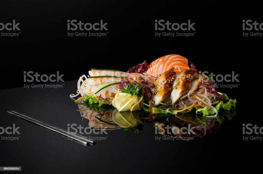 sushi on black background royalty-free stock photo