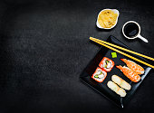 Sushi on Dark Plate with Copy Space