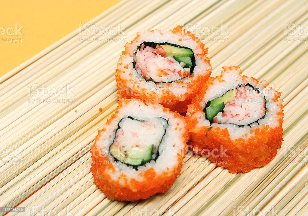 Sushi on Straw Mat royalty-free stock photo