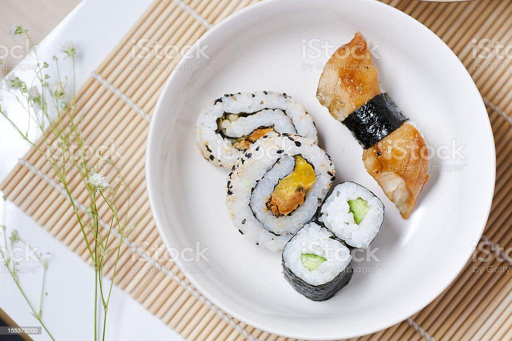 Sushi on white dish royalty-free stock photo