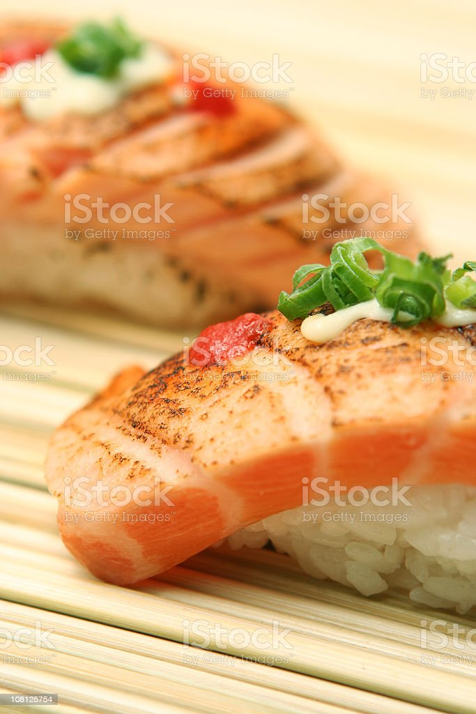 Sushi on Wooden Board royalty-free stock photo