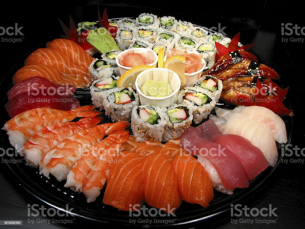Sushi party tray stock photo