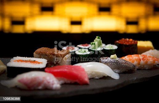 Sushi plate in a Tokyo restaurant.