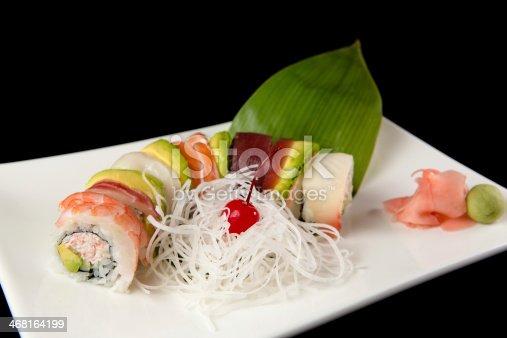 Rainbow roll with shrimp, tuna and salmon.