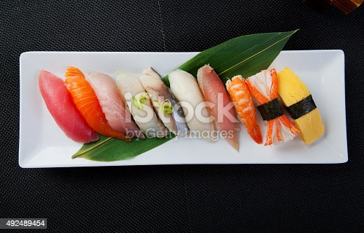 10 pcs of Various sushi on white plate