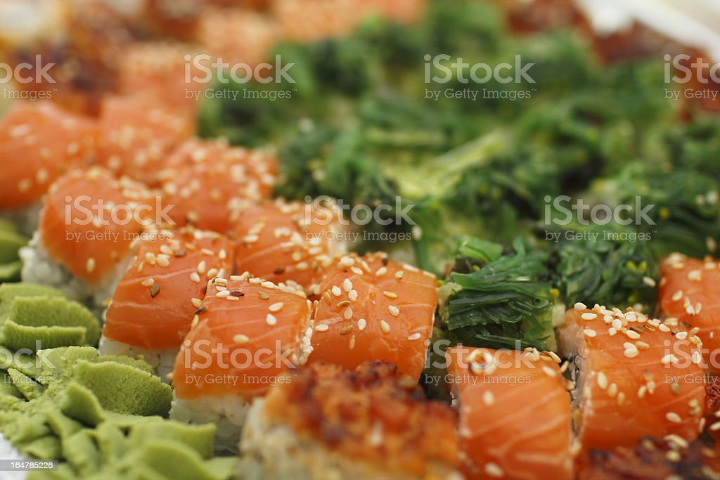 Sushi pieces and rolls collection royalty-free stock photo