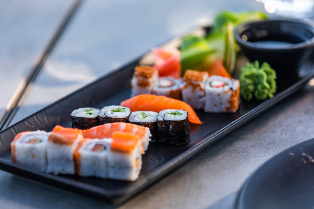 Sushi plate ready for dinner stock photo