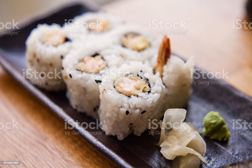 Sushi prawn  tempura stock photo