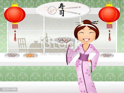 Illustration of sushi restaurant