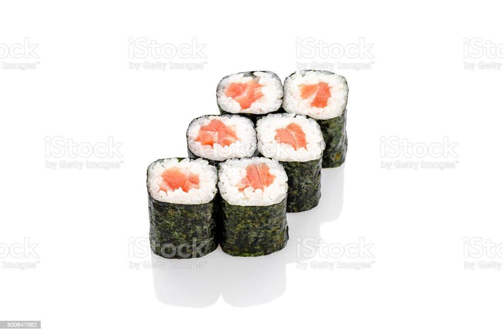 sushi roll  salmon stock photo