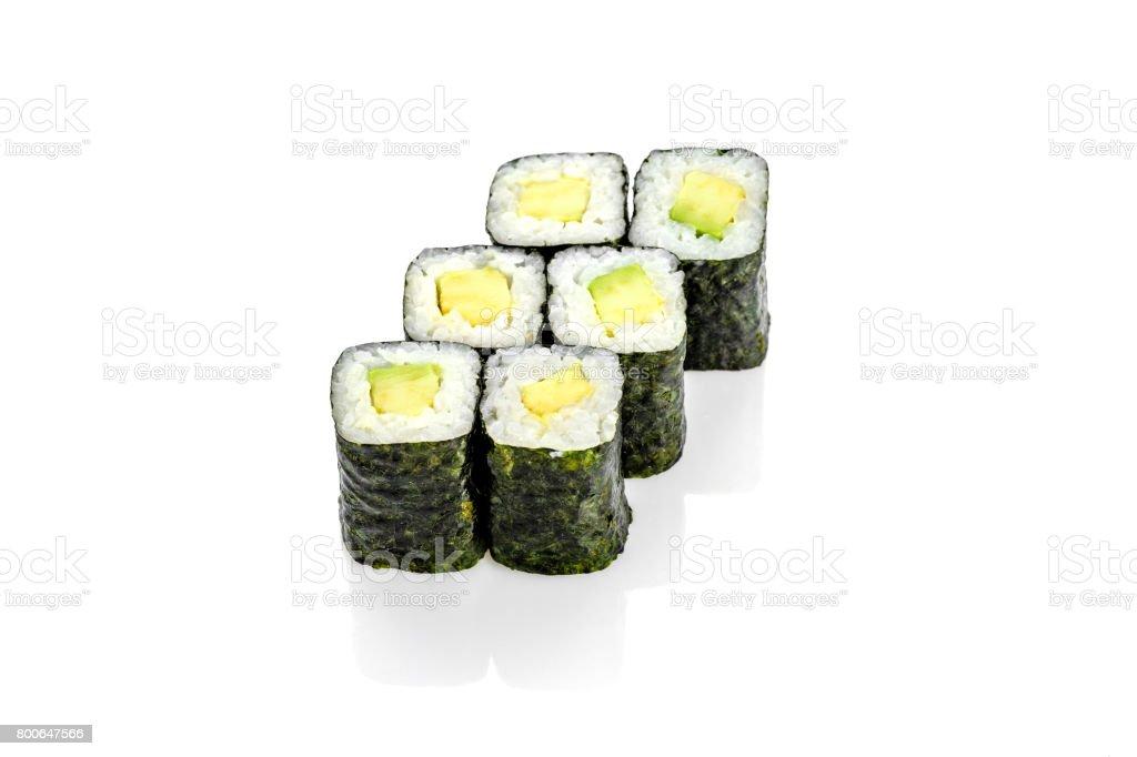 sushi roll with avocado stock photo