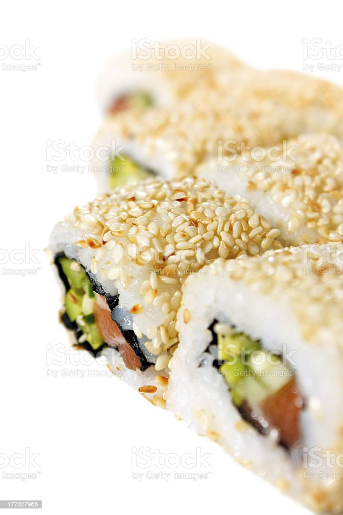 Sushi Roll With Salmon Sesame Seeds Avocado And Cucumber