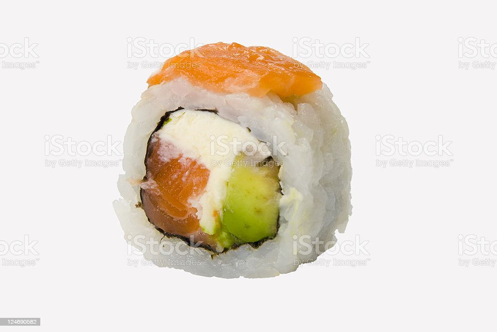 Sushi Roll with salmon, shrimp and avocado royalty-free stock photo