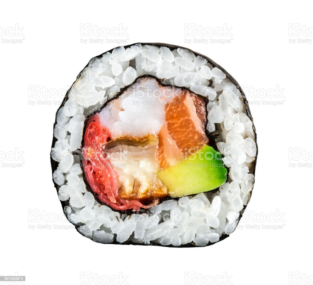 Sushi roll with salmon, shrimps and avocado stock photo