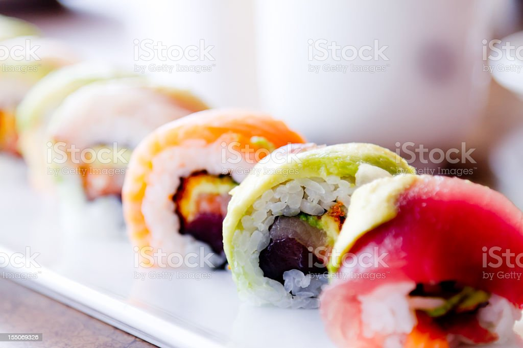 Sushi Rolls and green tea stock photo